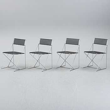 Four 'X-line' chairs by Niels Jorgen Haugesen for Magis, designed 1977.