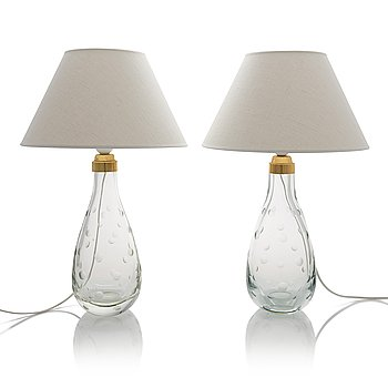 Gunnel Nyman, a pair of 1948 designed table lamps for Nuutajärvi Notsjö/ Idman Finland.