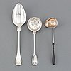A silver serving spoon, sprinkle spoon and sauce spoon, sweden, 19th century.