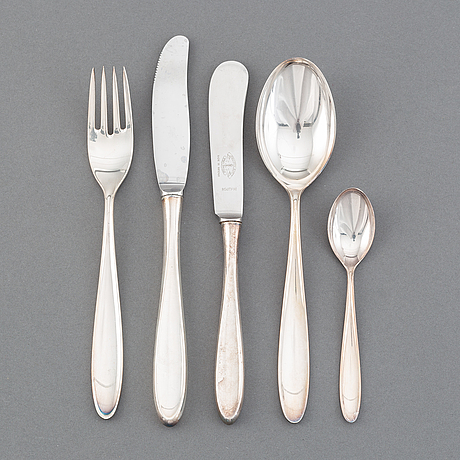 A silver cutlery, 'taffel', th marthinsen sølvvarefabrikk, norway. the model designed in 1959. (50 pieces).