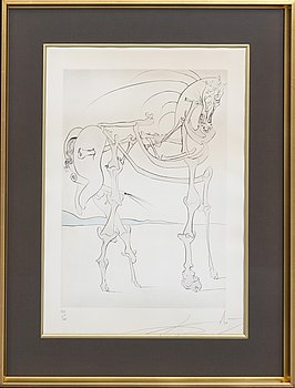 Salvador Dalí, etching and drypoint with stencil signed and numbered 129/300.