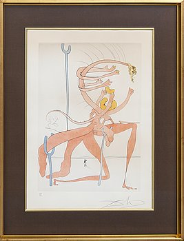 Salvador Dalí, drypoint and etching with stencil signed and numbered 129/300.