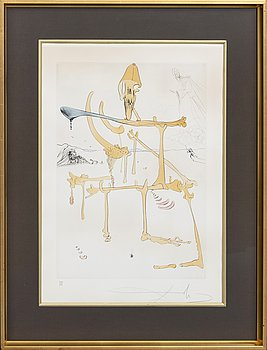 Salvador Dalí, drypoint etching with stencil signed and numbered 129/300.