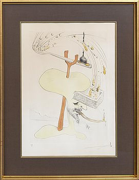 Salvador Dalí, etching with stencil signed and numbered 129/300.