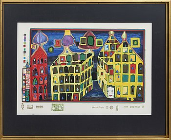 Friedensreich Hundertwasser, serigraph with metal embossing numbered 1649/3000.