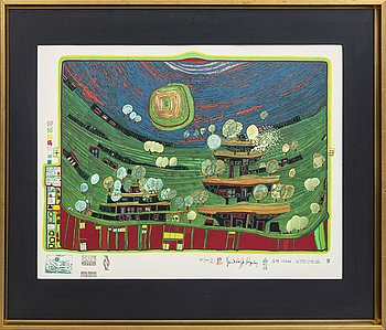 Friedensreich Hundertwasser, serigraph in colours with metal embossing, signed and numbered 165/300.