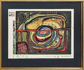 Friedensreich Hundertwasser, serigraph in colours with metal embossing numberd 1649/3000.