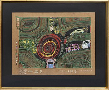 Friedensreich Hundertwasser, serigraoh in colours with metal embossing and glass dust, numbered 1649/3000.