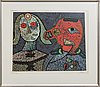 Enrico baj, lithograph in colours with applications signed and numbered viii/l.