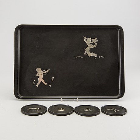 Tiddit wendt, a tray and 4 coasters from perstorp, 1945.