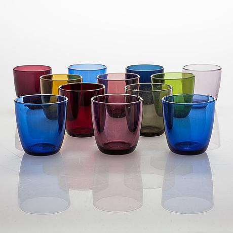 """Tapio wirkkala, a set of 12 drinking glasses """"4090"""". iittala, mid-20th century."""
