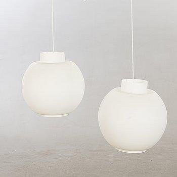 Ceiling lamps, 2 pcs, 1940s-50s, opal glass.