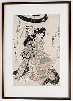 Utagawa Kunisada, two coloured woodblock prints, Japan, 19th century.