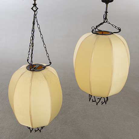 A pair of chinese 20th century ceiling lamps.