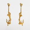 """Björn weckström, a pair of 18k gold earrings """"by the springs"""" with cultured pearls. lapponia."""