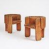 Luigi massoni, a pair of easy chairs, poltrona frau, italy 1970's.