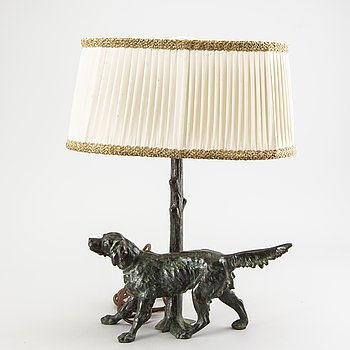 A patinated bronze table lamp first half of the 20th century.