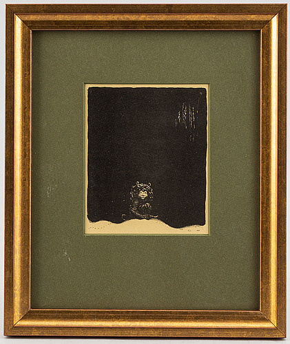 """John bauer, lithograph, from: """"troll"""". signed j b in the print."""