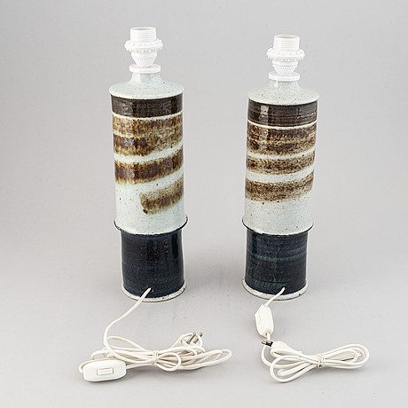 Inger persson, a pair of 20th century stoneware table lamps, rörstrand ateljé, sweden.