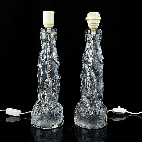 A pair of 20th century glass table lamps, ateljé engberg, urshult, sweden.