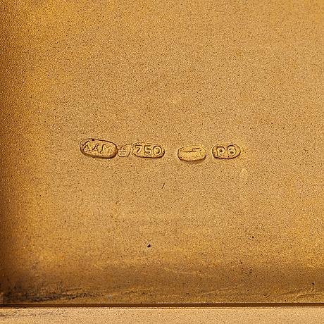 Cigarettetui, 18k guld. a.a. miettinen, helsingfors 1944.