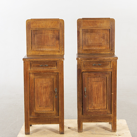 A pair of bed side tables first half of the 20th century.