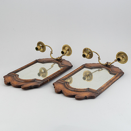 A pair  century wood and brass mirror wall sconces for two candles.c. 1900.