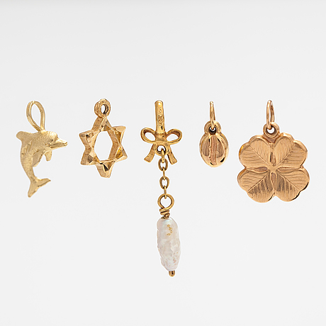 Five pendants, 14k gold and a pearl.