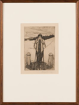 Hugo Simberg, line etching and drypoint, signed in pencil.