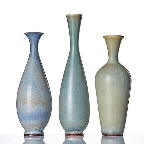 Berndt friberg, a set of three stoneware vases, gustavsberg studio, sweden 1960-67.