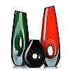Vicke lindstrand, a set of three glass vases, kosta, sweden 1950-60's.