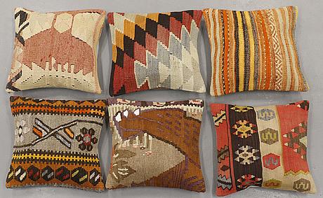 Six kilim cushions, ca 40 x 40 cm.
