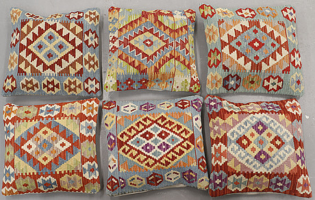 Six kilim cushions, ca 50 x 50 cm.