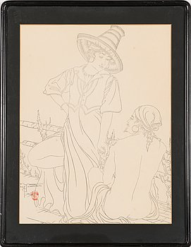 Paul Jacoulet, woodcut, signed.