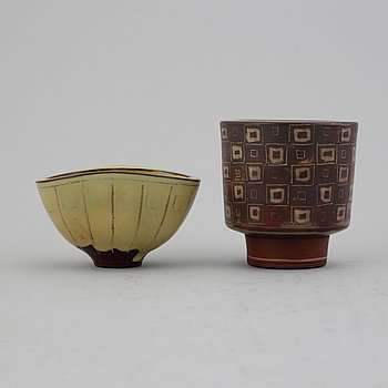 "Wilhelm Kåge, two ""Farsta"" stoneware bowls  from Gustavsberg Studio."
