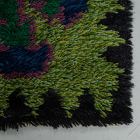 Matto, knotted pile, ca 172,5 x 110 cm, sweden/finland 1950's-1960-'s.