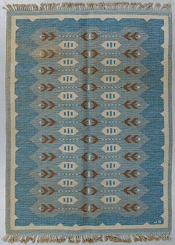 Matto, a machine-made double weave, ca 224 x 165 cm, signed js.