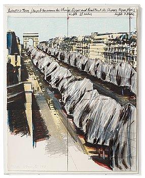 """428. Christo & Jeanne-Claude, """"Wrapped Trees - Project for the Avenue des Champs-Elysées, Paris""""."""