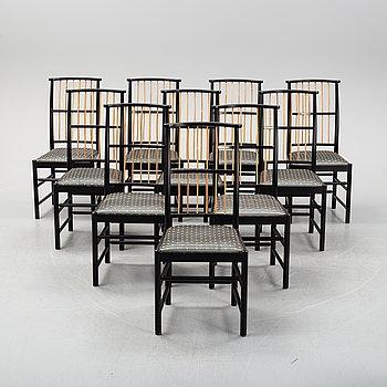 Josef Frank, a set of 10 model 2025 chairs, Firma Svenskt Tenn.