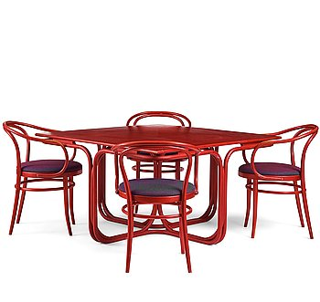 91. Jan Bocan, a table and four chairs for the Czechoslovakian embassy in Stockholm 1972, produced by Thonet.