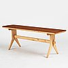 Ilmari tapiovaara, attributed to, a dinner table with two benches, probably finland 1950-60's.