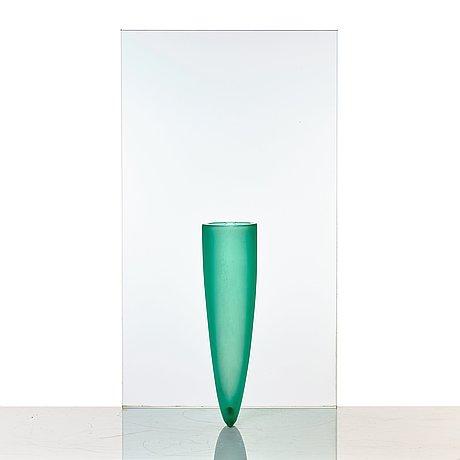 """Philippe starck, """"petite etrangete contre un mur"""", a sculpture/vase, ed. 50/50, daum, nancy, france, 1980's."""