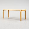 A bench and a stool by alvar aalto, from around the year 2000.
