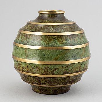 A bronze art déco vase from Svenska Metallverken, 1920's-30's.