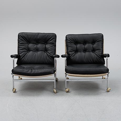 Bruno mathsson, a pair of 'karin' armchairs for dux.