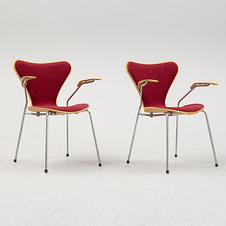 """Arne jacobsen, two """"seven"""" armchairs, designed by arne jacobsen for fritz hansen."""