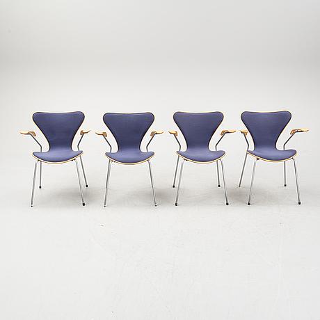 """Arne jacobsen, four """"seven"""" armchairs, designed by arne jacobsen for fritz hansen."""