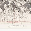 Vladimir velickovic, etching, 1976, signed and numbured 55/100.