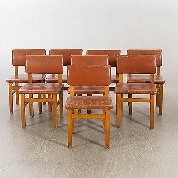 John Kandell, chairs 8 by JE Blomqvist furniture factory Uppsala, 1960s.