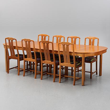 Carl malmsten, a nine piece dining suite 'ambassadör', åfors möbelfabriks ab.